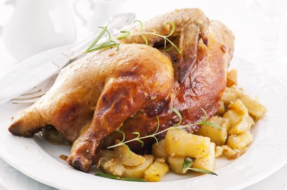 chicken roasted with potato and herbs
